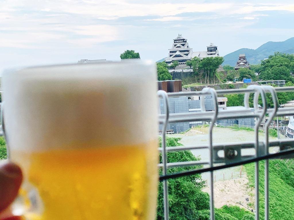 熊本城に乾杯!